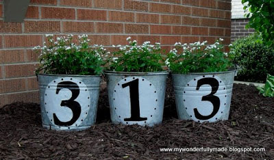 Vintage Bucket House Number DIY