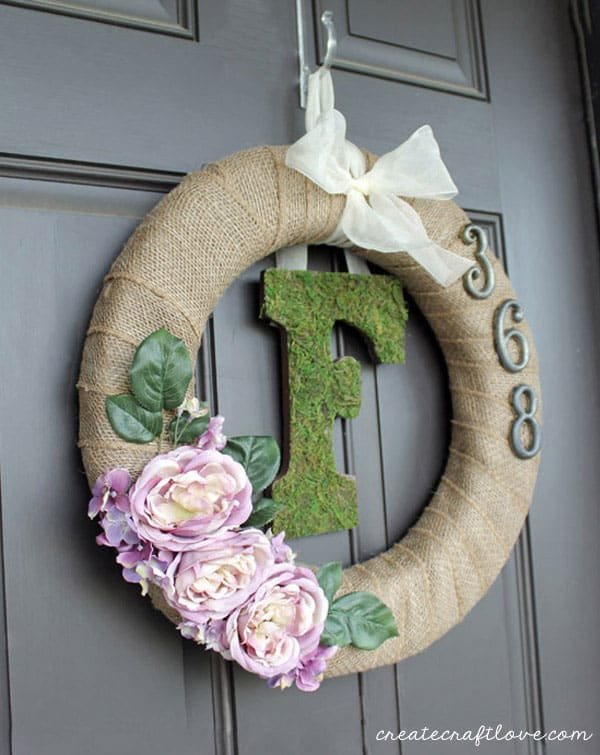 Moss Monogram Spring Wreath