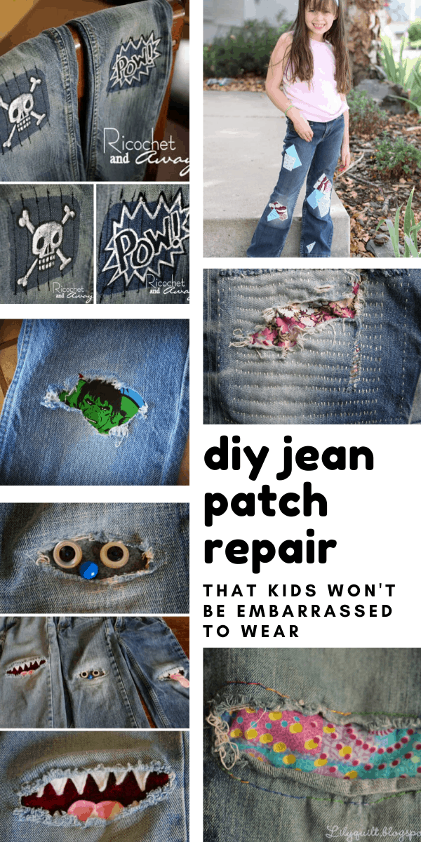At last! DIY jean patch repair ideas that the kids will actually like! There are ideas here for moms too!