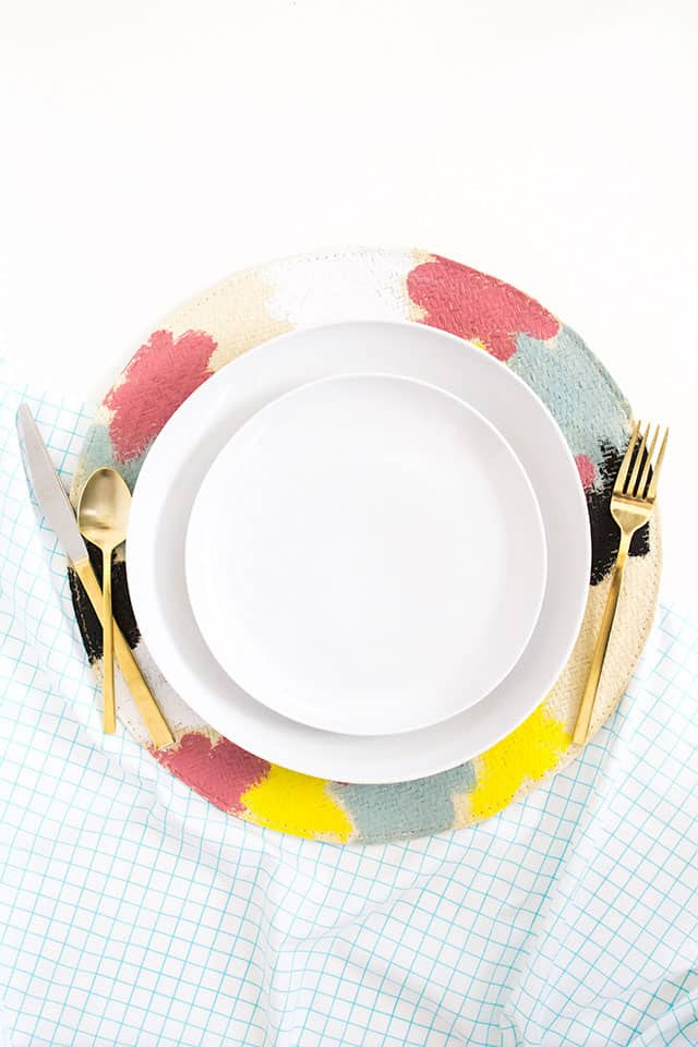 DIY Kate Spade Saturday Painted Straw Placemats
