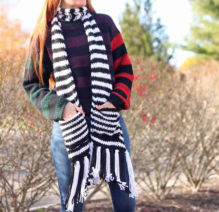 Kate Spade Chunky Stripe Pocket Scarf Knitting Pattern