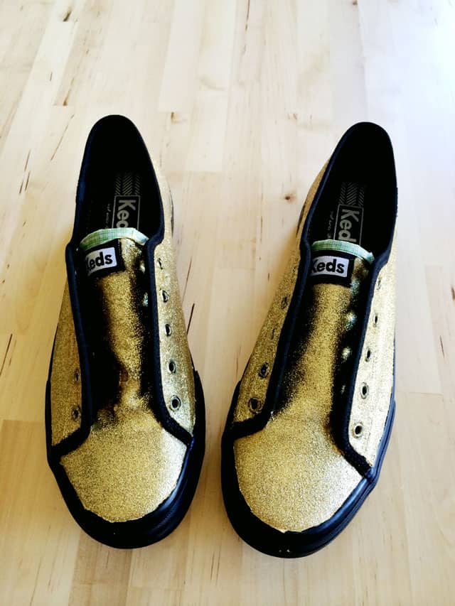 DIY Gold Glitter Sneakers