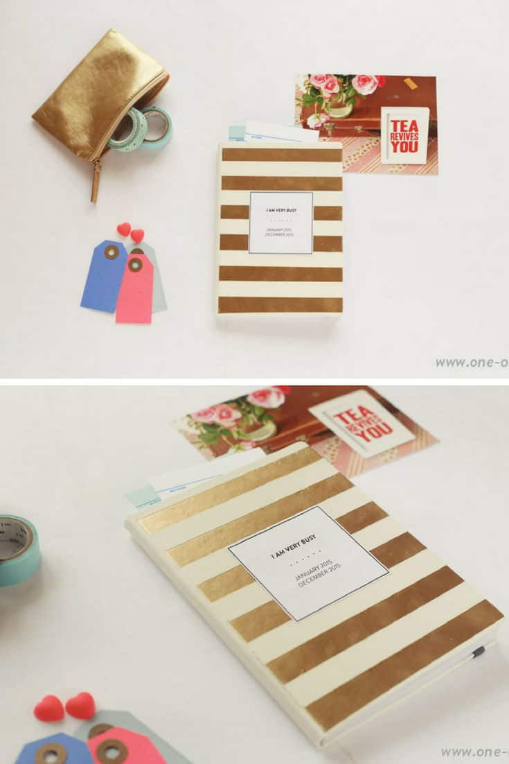 DIY Golden Striped Planner – Kate Spade Inspired