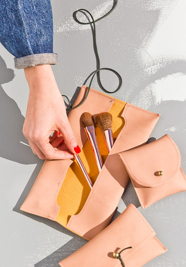 DIY Sewn Leather Pouches