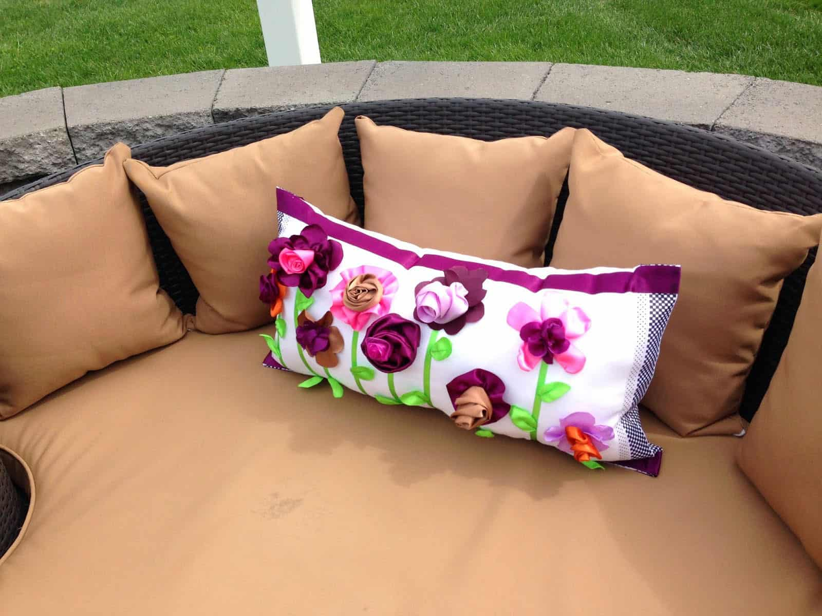 No Sew Grandin Road Outdoor Pillow Knockoff