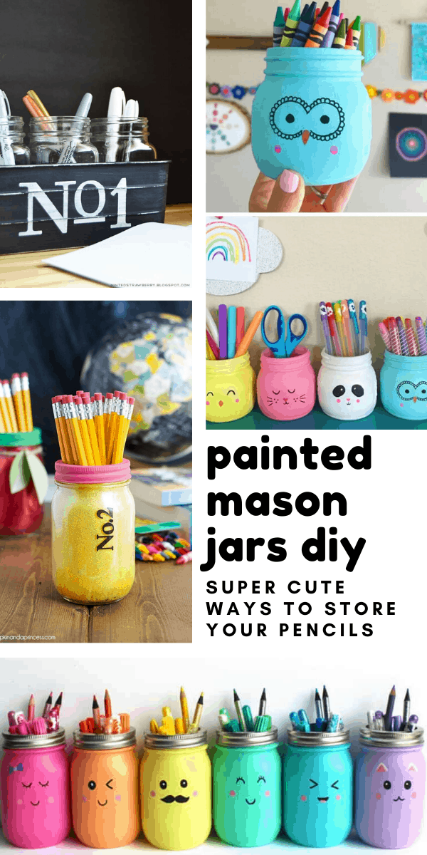 Loving these painted mason jars! Such vibrant colours! And these diy projects are the perfect way to store all your pens, pencils, paint brushes and even make up brushes!