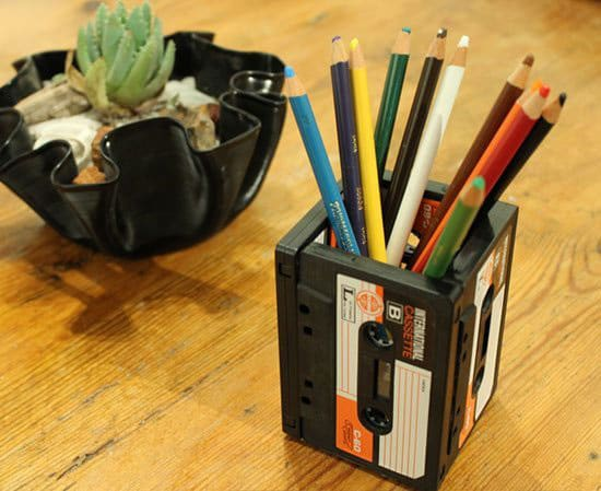 Upcycled Cassete Tape Pencil Holder
