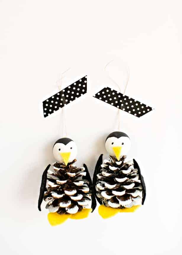 Penguin Pinecone Tree Ornament
