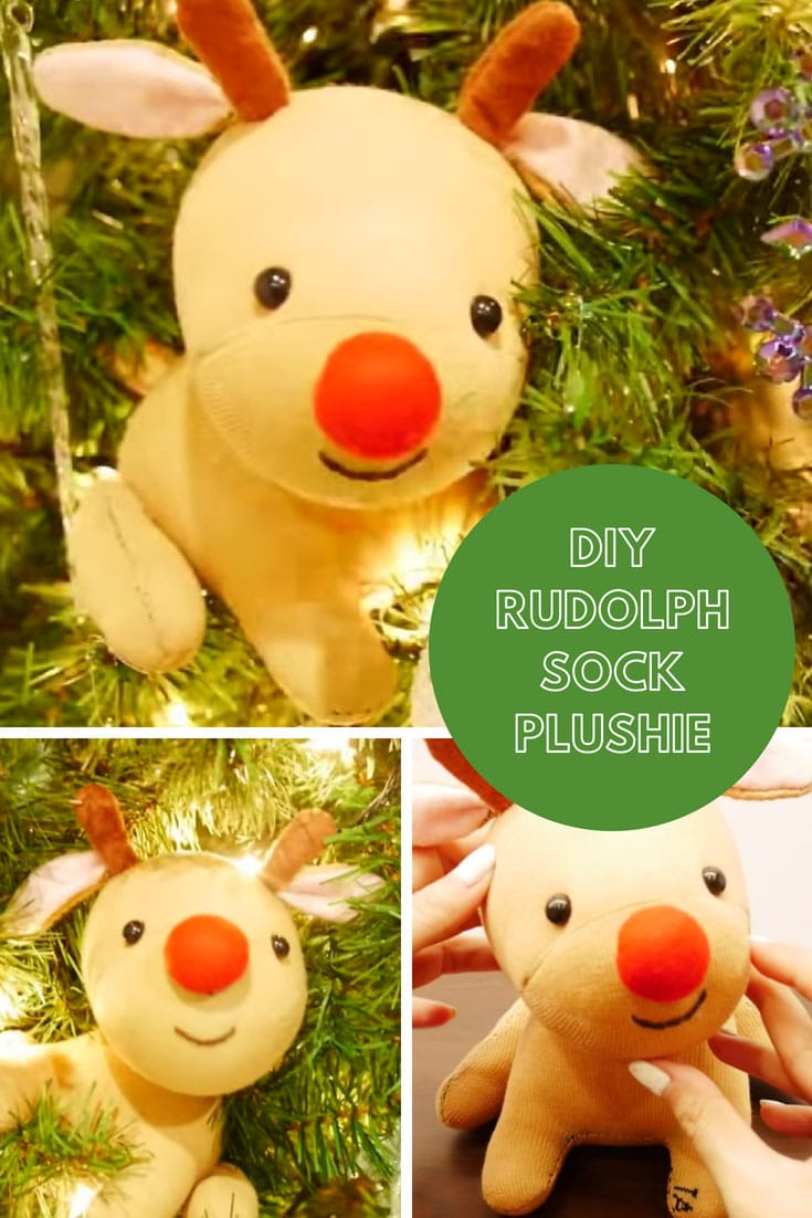 Little Rudolph Sock Plush Tutorial - DIY Red Nose Reindeer for Christmas!
