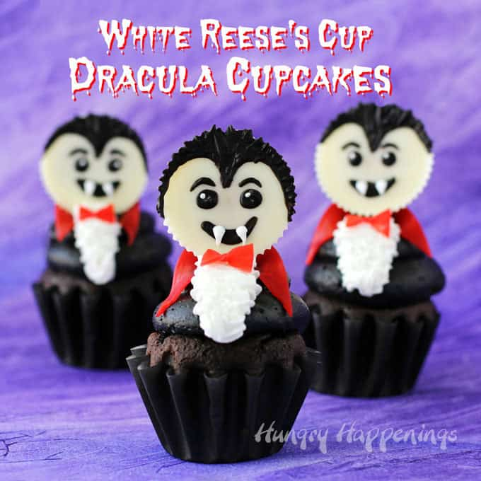Dracula Cupcakes made with White Reese's Cups