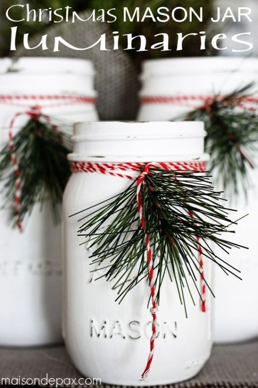 These Christmas Mason Jar Luminaries are SUPER STYLISH!