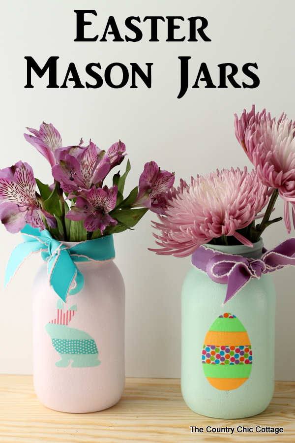 Easter Mason Jars with Washi Tape
