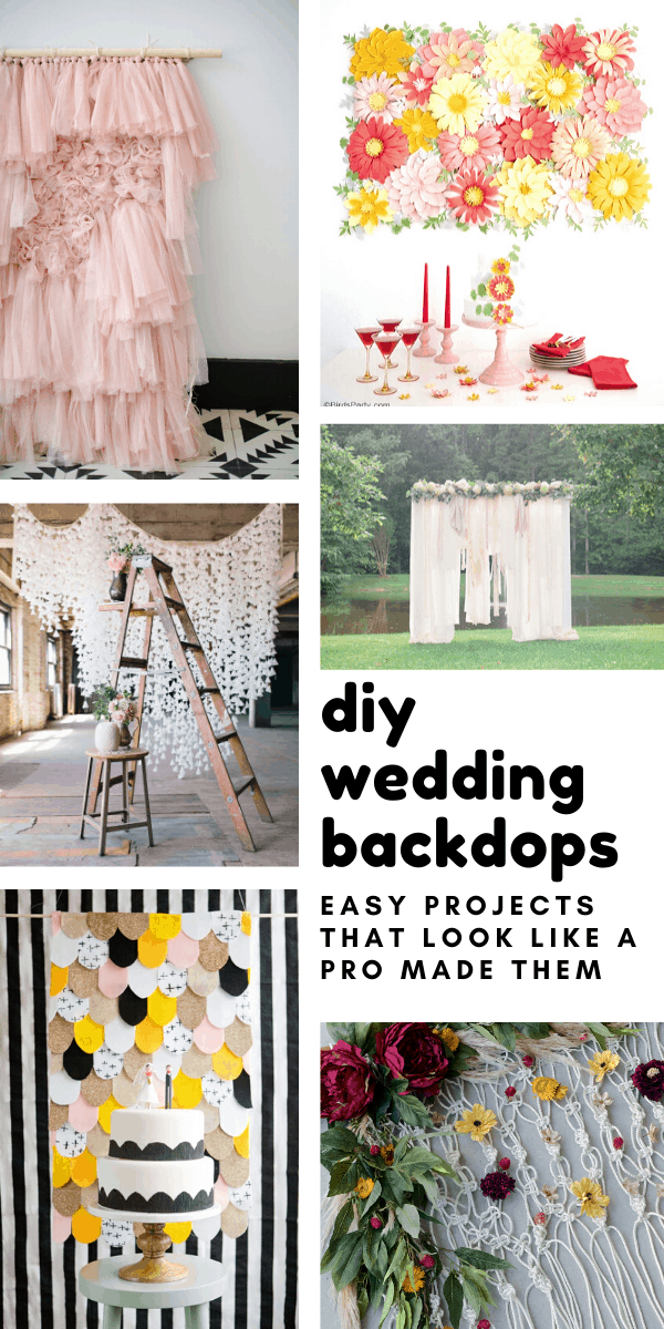 These easy DIY wedding backdrops are the perfect way to frame your cake or cover up an eyesore