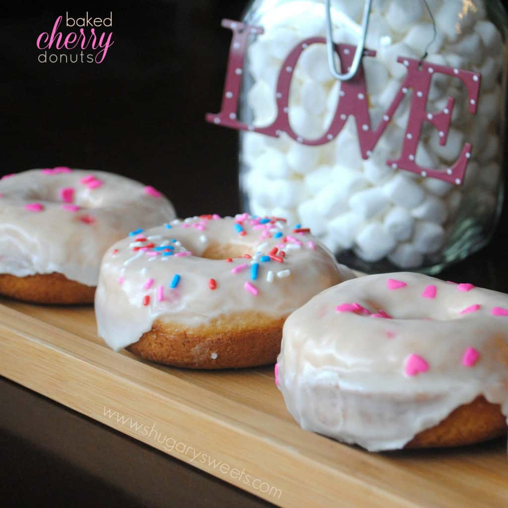 Cherry Donuts (Baked) with Vanilla Glaze