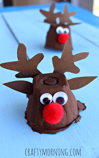 Egg carton to Rudolph! What a GENIUS craft idea - and LOVE that red pompom nose. Thanks for Pinning!