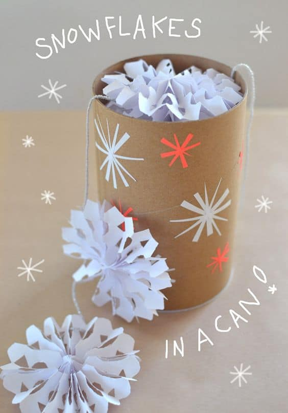 What a BRILLIANT idea for a gift in the mail - a can filled with snowflakes!