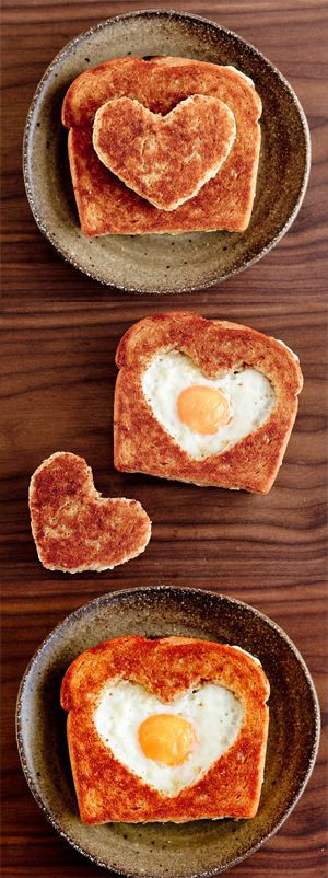 Not all Valentine treats have to be sweet and full of sugar. This egg filled toast is PERFECT for breakfast!