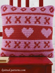 Fair Isle Heart Crochet Cushion