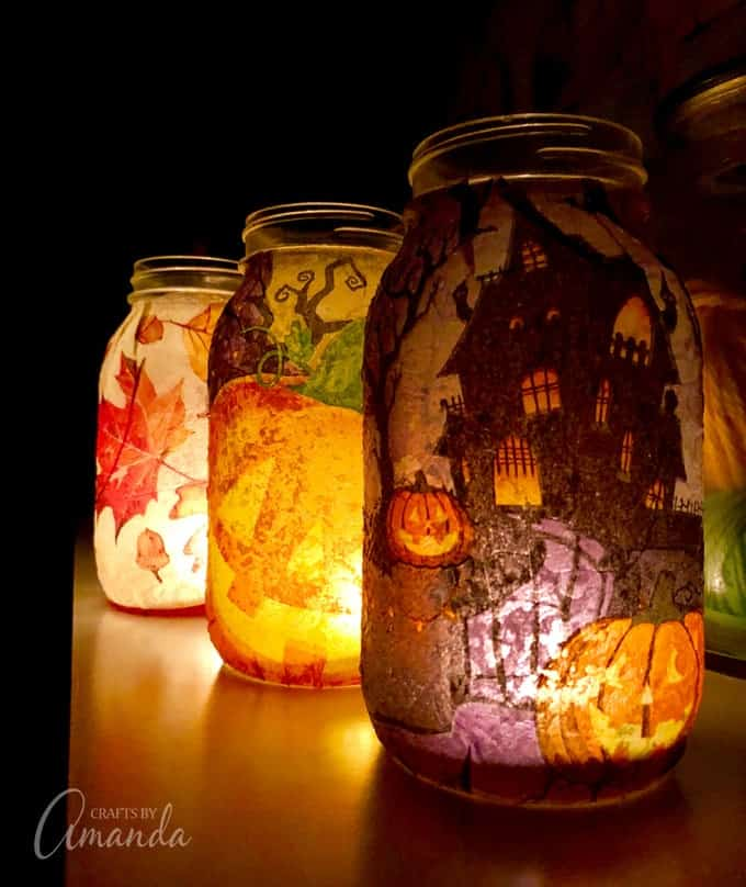 Halloween Decoupage Mason Jar Lanterns
