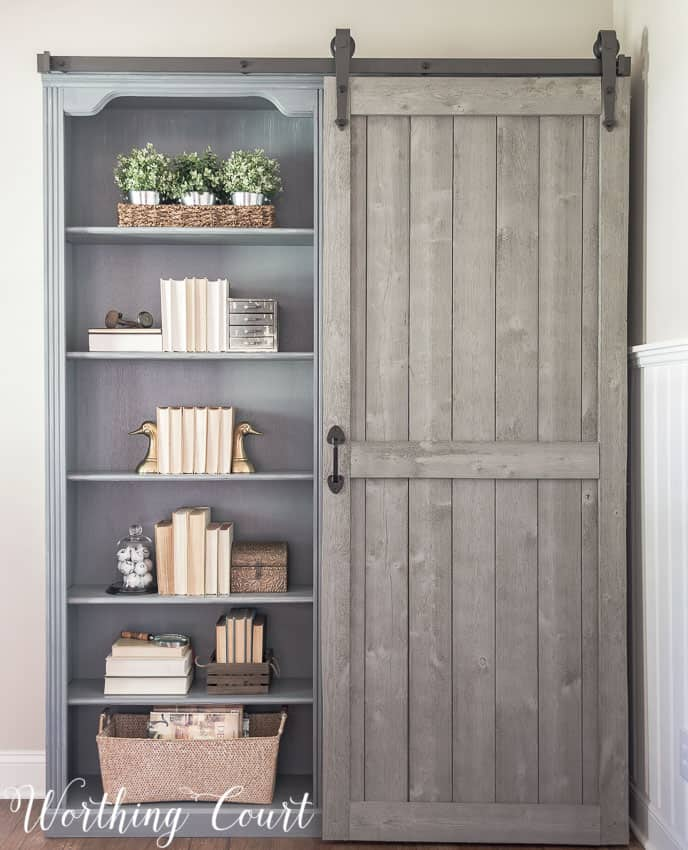 Bookcase Makeover - Traditional Cherry To Farmhouse Fab!