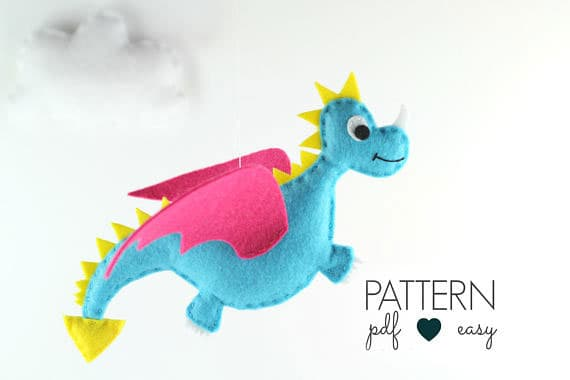Dragon Sewing Pattern - Felt Dragon Plushie Pattern - Dragon Toy - Felt Dragon Pattern - Dragon Baby Mobile - Dragon Ornament