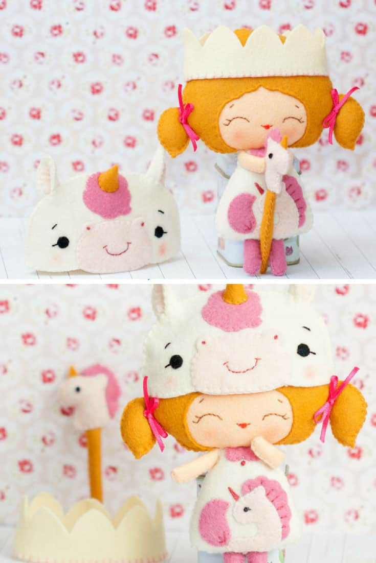 PDF Baby unicorn princess doll. Plush Doll Pattern, Softie Pattern, Soft felt Toy Pattern.