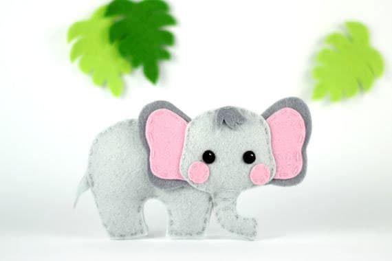 Felt Elephant Pattern - Elephant Sewing Pattern - Felt Animal Pattern - Elephant Toy - Ornament - Safari Mobile Pattern