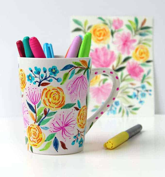 Watercolour Flower DIY Sharpie Mug