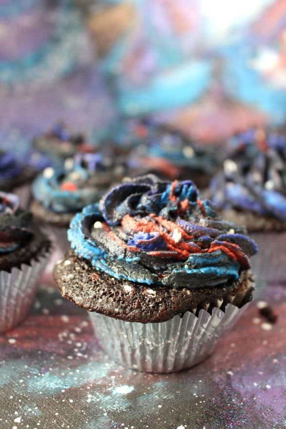 Galaxy Decorated Chocolate Cupcakes