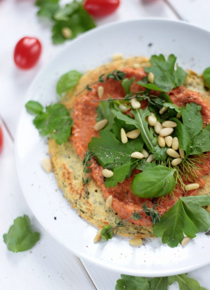 Chickpea Pancakes with Sun-Dried Tomato Sauce