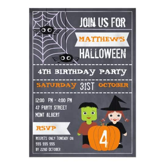 You can buy the Kids Halloween Chalkboard Birthday Invitation here