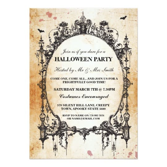 You can buy the Halloween Black Gothic Spider Frame Party Invite here