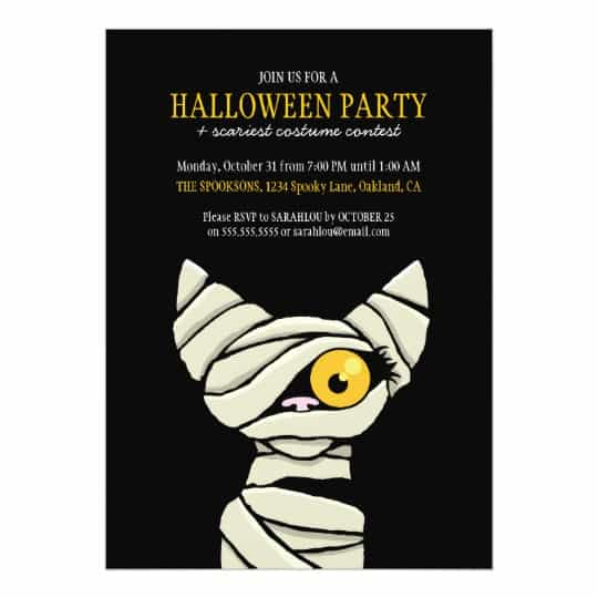 You can buy the Spooky Bandaged Mummy Cat Halloween Party Card here