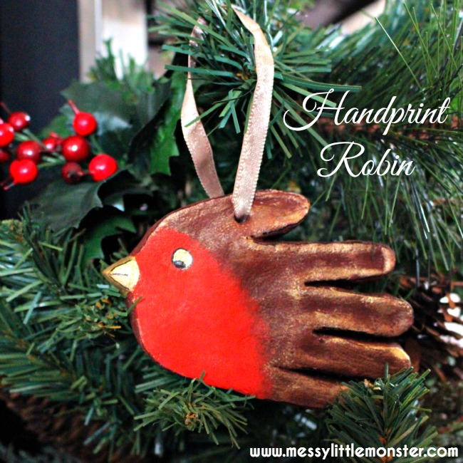 Handprint Robin Ornament