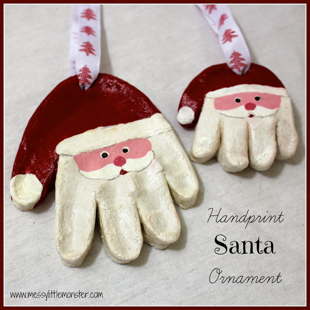 Santa Handprint Ornaments