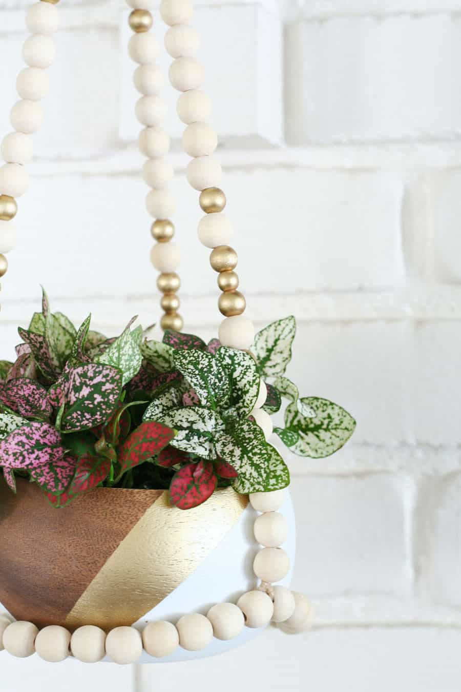 DIY Beaded Hanging Planter