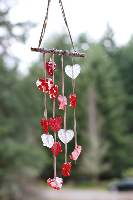 Melted pony beads wind chime craft