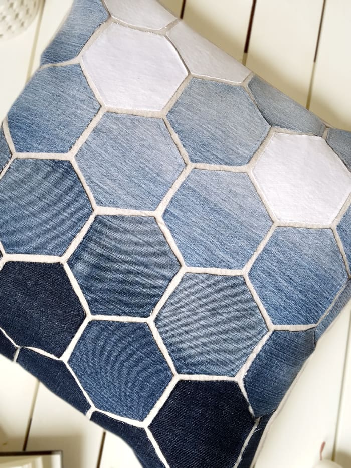 Hexagon Pillow Made from Old Jeans