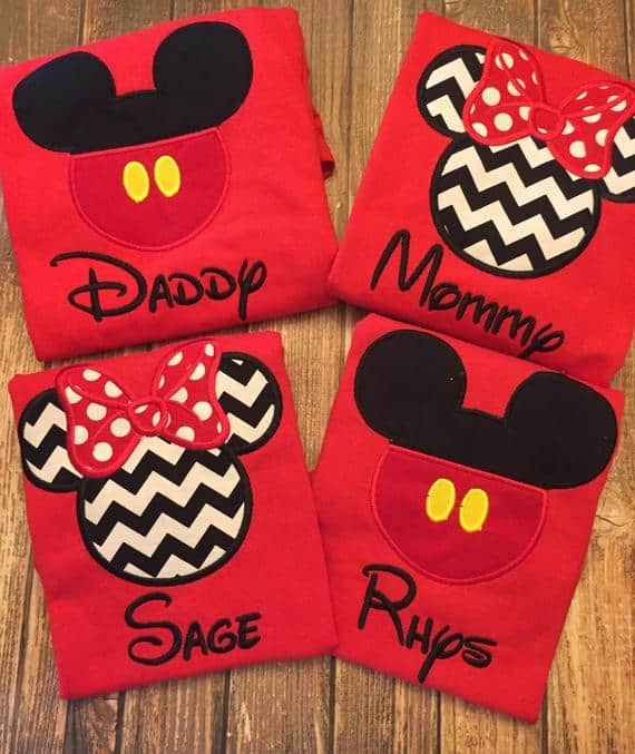 Embroidered Mickey Head Matching Family Shirts