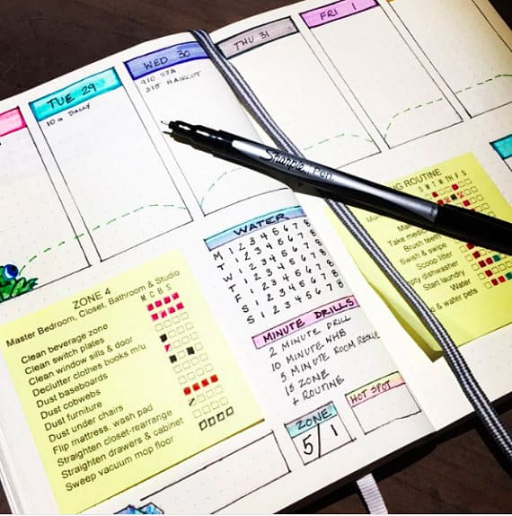 Bullet Journal Cleaning Tracker Flylady