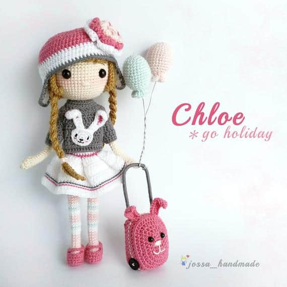 Chloe on Holiday Crochet Doll