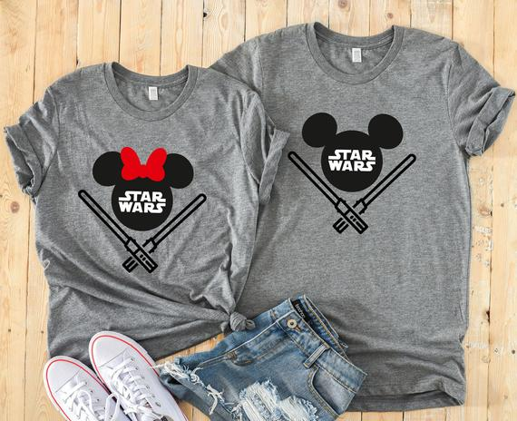 Star Wars Minnie Mouse & Mickey Mouse Matching Disney Couples Shirts