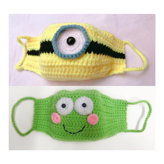 Minions and Frog Crochet Face Masks for Kids