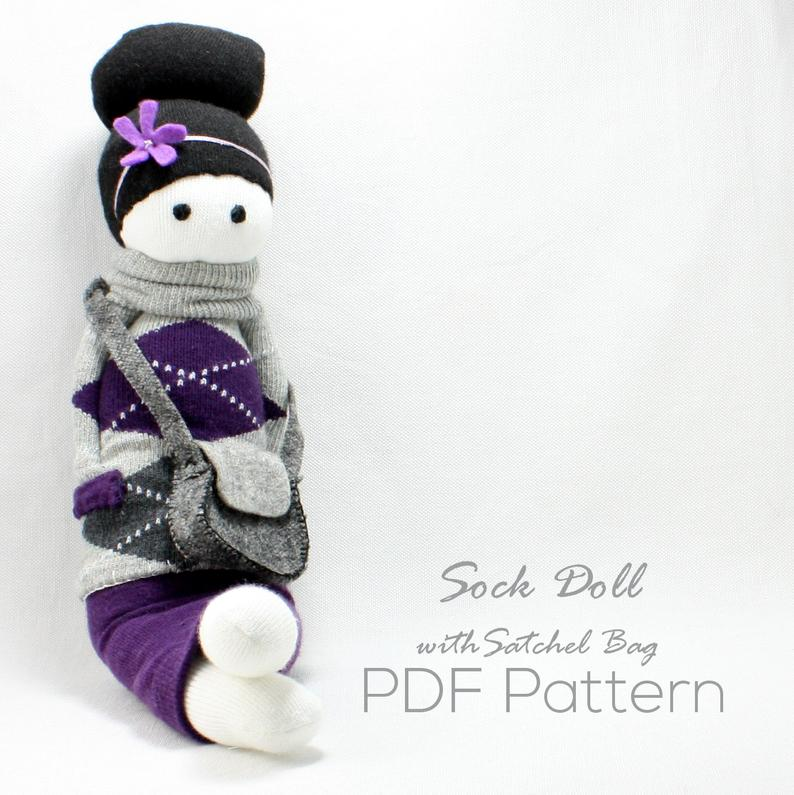 Pretty sock doll pattern with a matching satchel