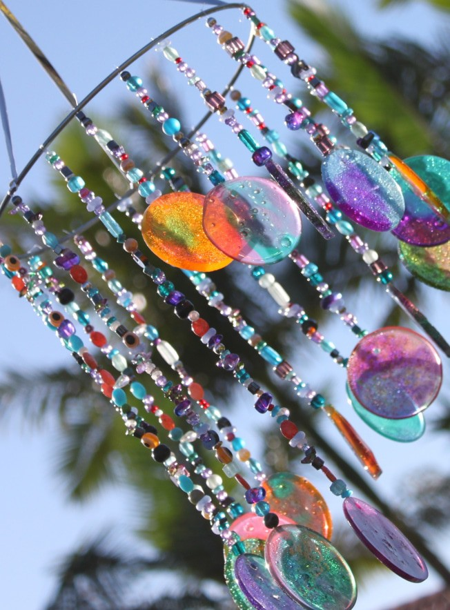 Melted shot glass windchime craft