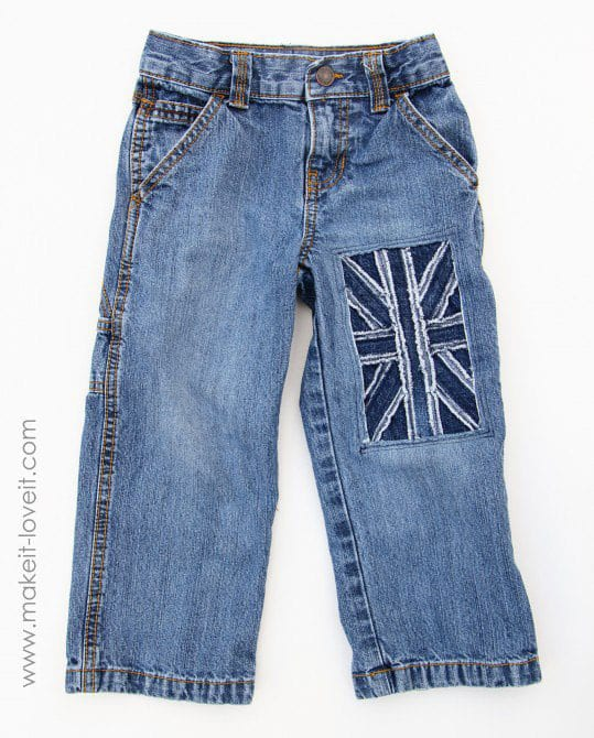 Little Boy Jeans: Refashion (with Union Jack flag)