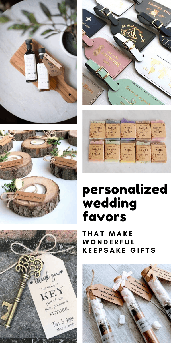 These keepsake wedding favors can all be personalized with your name and wedding date and your guests will love them!