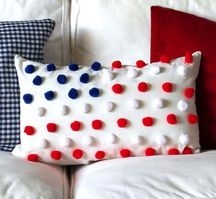 Fourth of july pom pom flag pillow