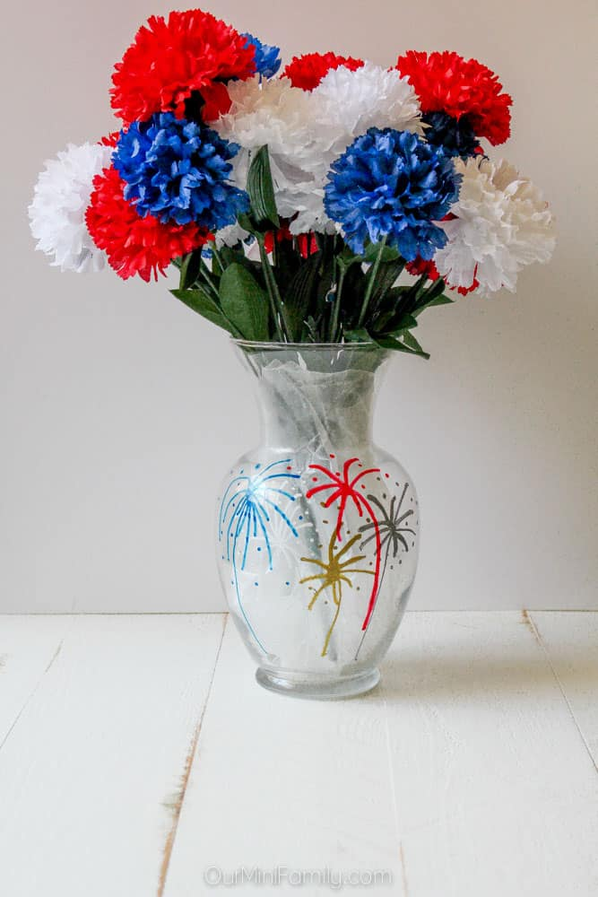 Diy fourth of july painted flower vase