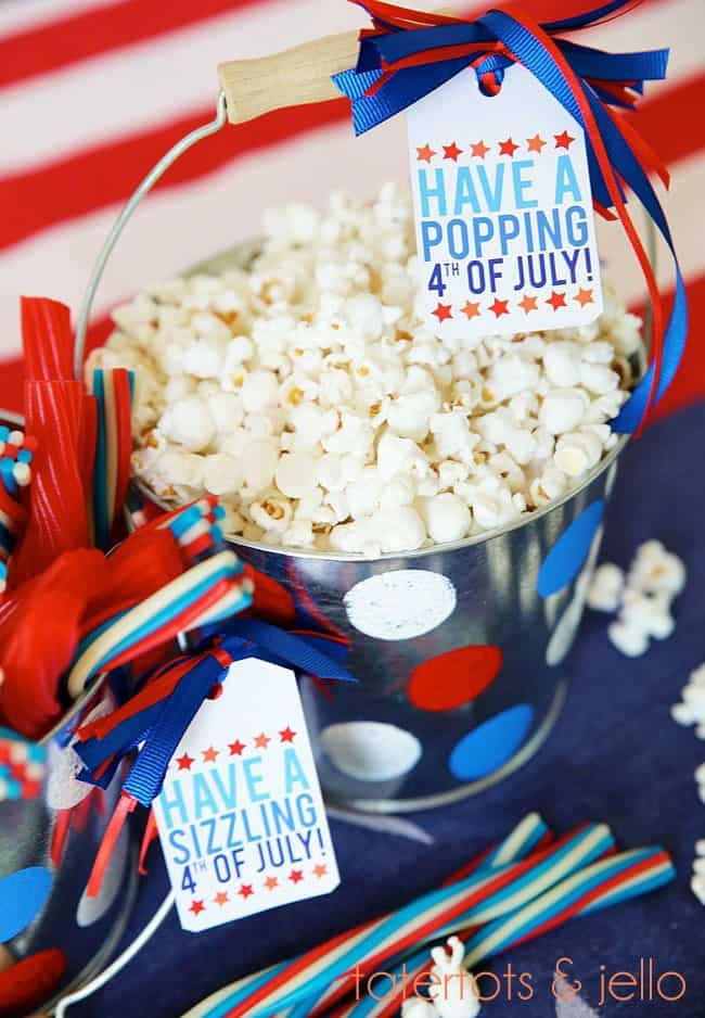 4th of july easy gift basket project with free printables